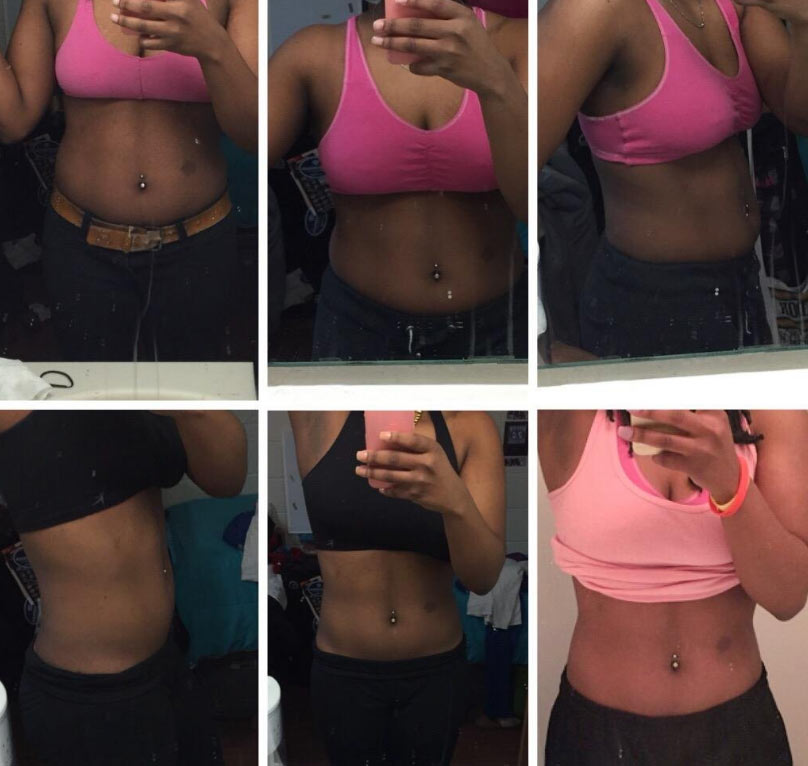 Waist trimmer before and after